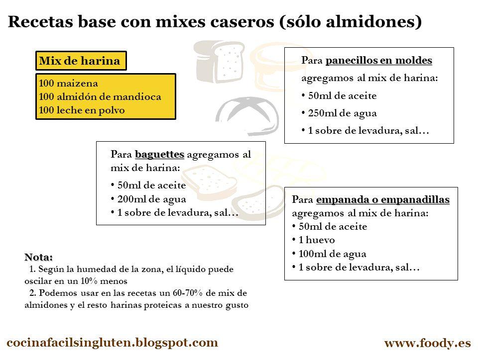 Recetas base con mixes caseros (sólo almidones)