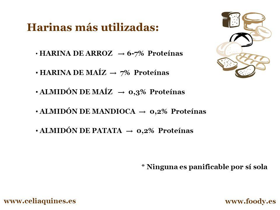 Harinas más utilizadas: