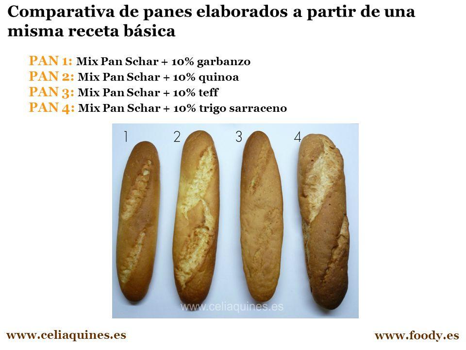 Comparativa de panes elaborados a partir de una misma receta básica