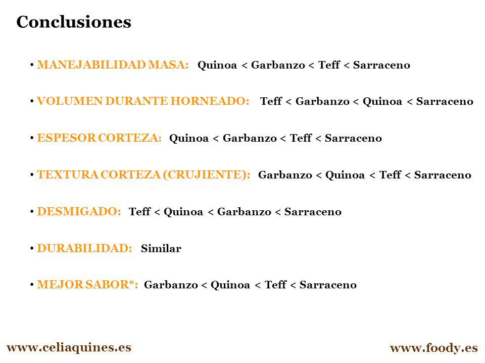 Conclusiones www.celiaquines.es www.foody.es