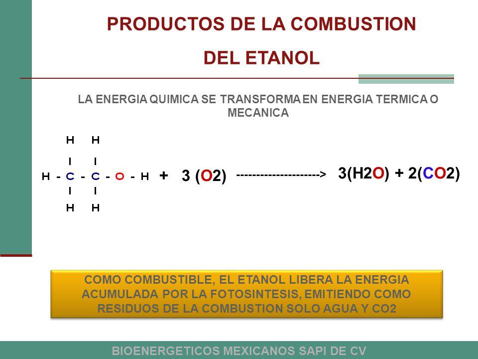 PRODUCTOS DE LA COMBUSTION DEL ETANOL