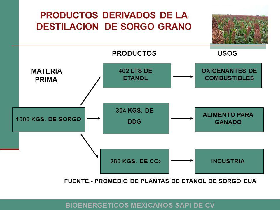 PRODUCTOS DERIVADOS DE LA DESTILACION DE SORGO GRANO