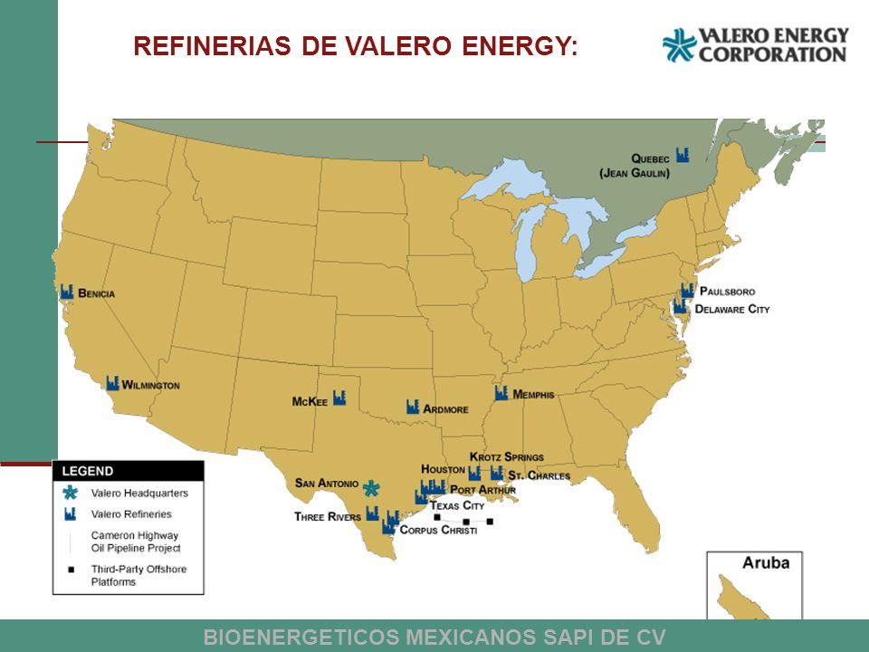 REFINERIAS DE VALERO ENERGY: BIOENERGETICOS MEXICANOS SAPI DE CV