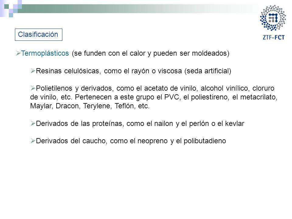 Clasificación Termoplásticos (se funden con el calor y pueden ser moldeados) Resinas celulósicas, como el rayón o viscosa (seda artificial)