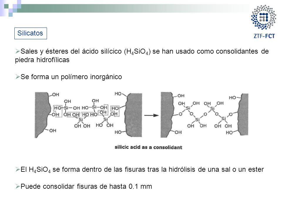 Silicatos Sales y ésteres del ácido silícico (H4SiO4) se han usado como consolidantes de piedra hidrofílicas.