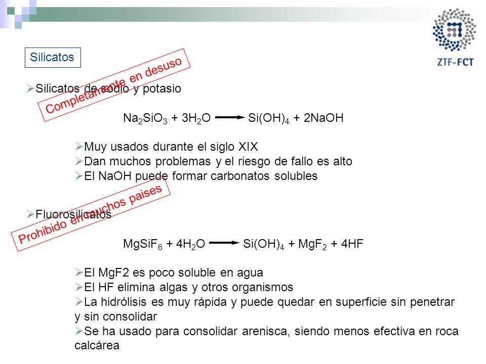 Silicatos Silicatos de sodio y potasio. Na2SiO3 + 3H2O Si(OH)4 + 2NaOH. Muy usados durante el siglo XIX.