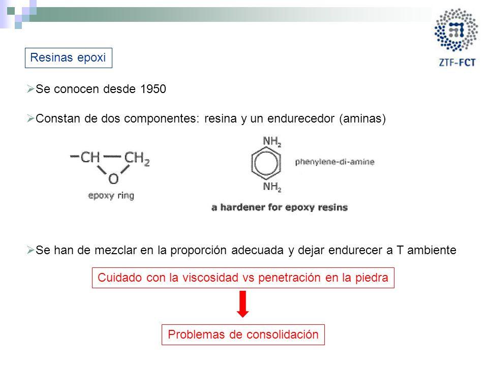 Constan de dos componentes: resina y un endurecedor (aminas)