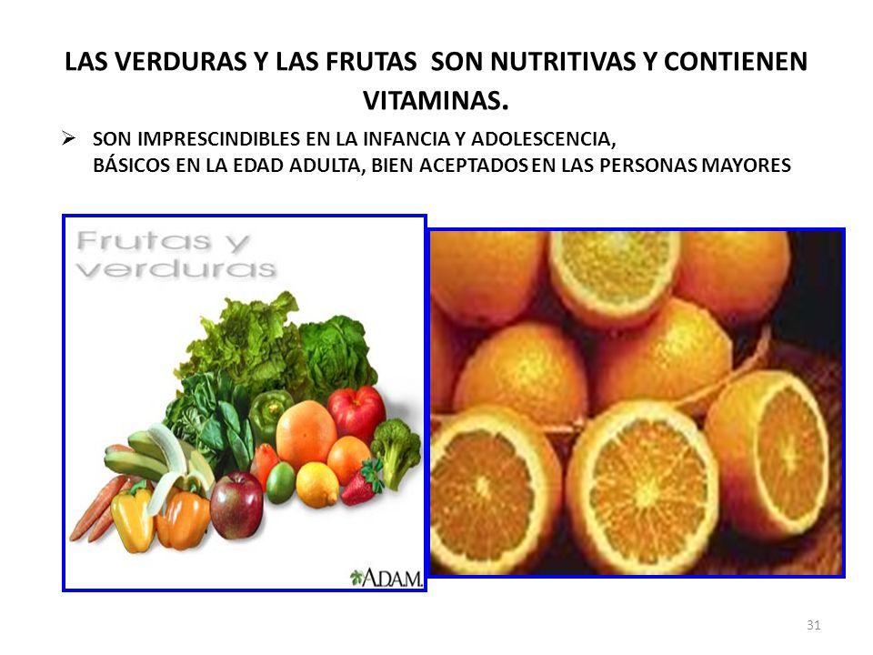 LAS VERDURAS Y LAS FRUTAS SON NUTRITIVAS Y CONTIENEN VITAMINAS.
