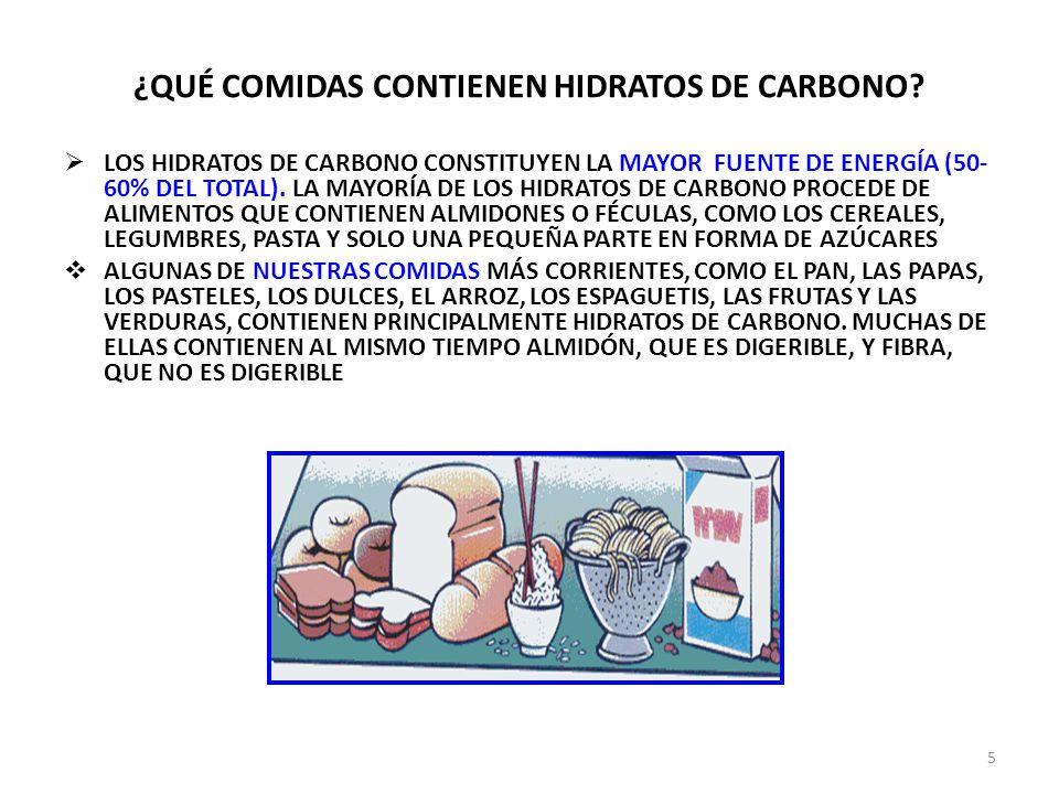 ¿QUÉ COMIDAS CONTIENEN HIDRATOS DE CARBONO