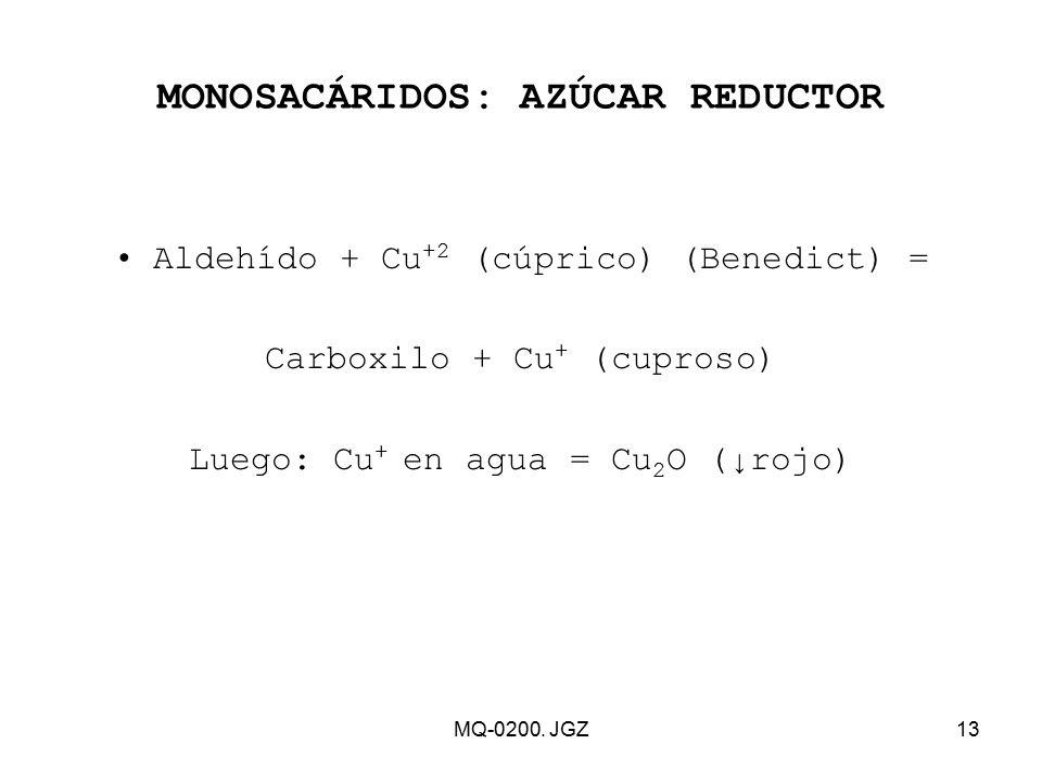 MONOSACÁRIDOS: AZÚCAR REDUCTOR