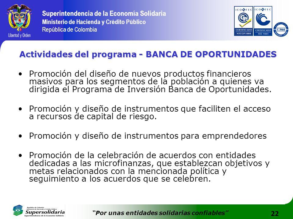 Actividades del programa - BANCA DE OPORTUNIDADES