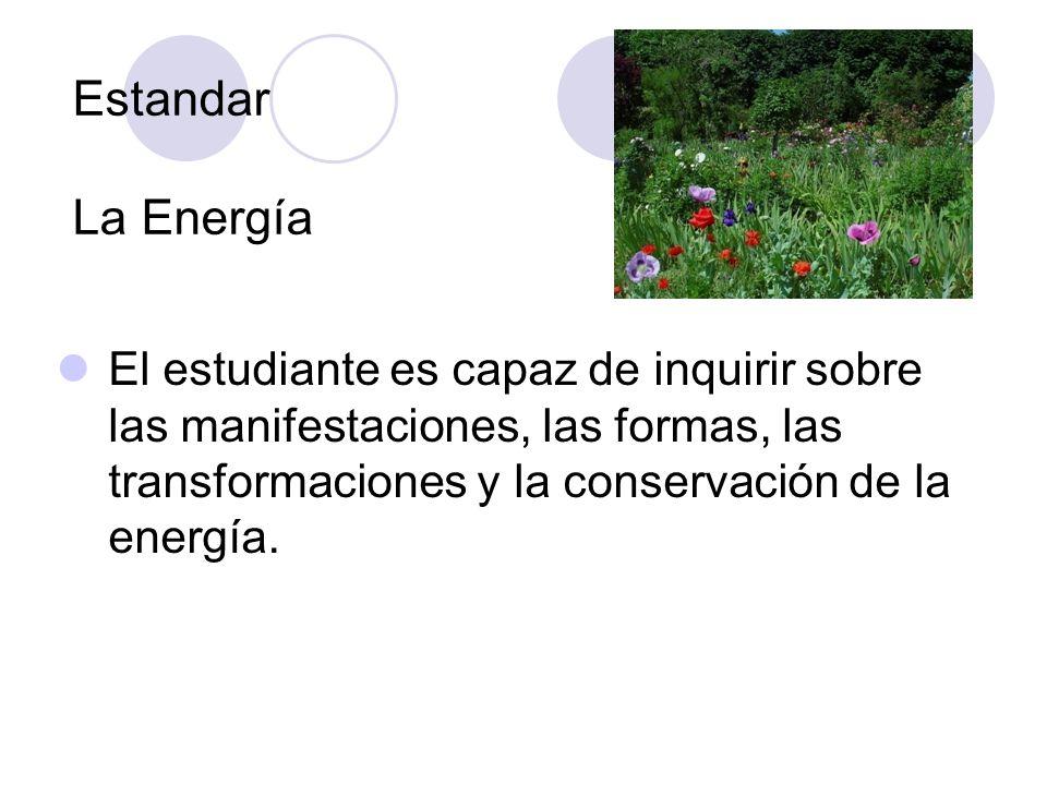 Estandar La Energía El estudiante es capaz de inquirir sobre las manifestaciones, las formas, las transformaciones y la conservación de la energía.