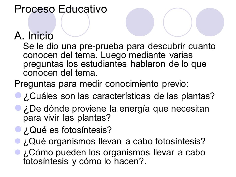 Proceso Educativo A. Inicio