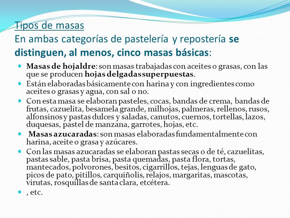 Tipos de masas En ambas categorías de pastelería y repostería se distinguen, al menos, cinco masas básicas: