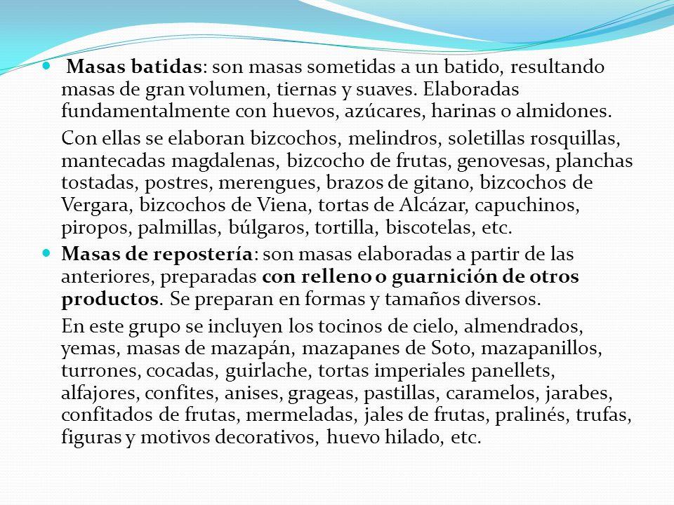 Masas batidas: son masas sometidas a un batido, resultando masas de gran volumen, tiernas y suaves. Elaboradas fundamentalmente con huevos, azúcares, harinas o almidones.