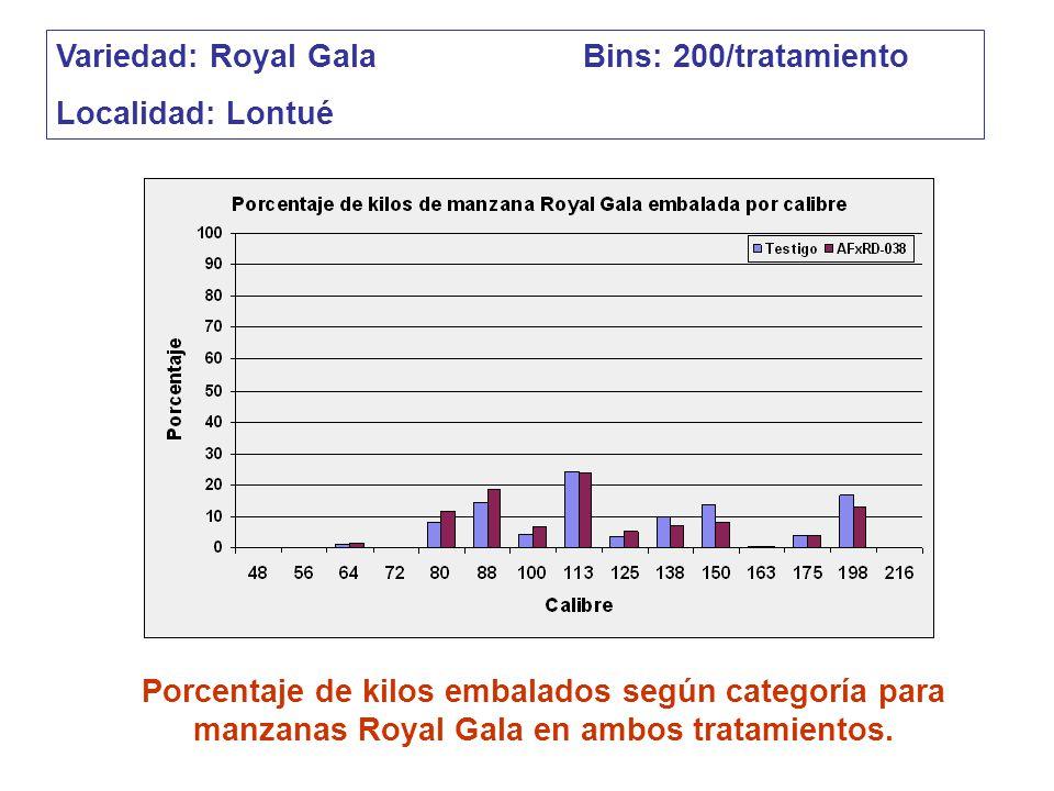 Variedad: Royal Gala Bins: 200/tratamiento
