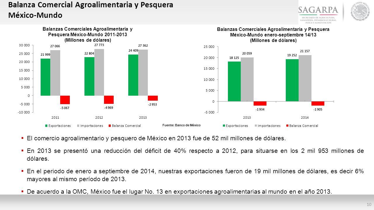 Balanzas Comerciales Agroalimentaria y Pesquera México-Mundo 2011-2013
