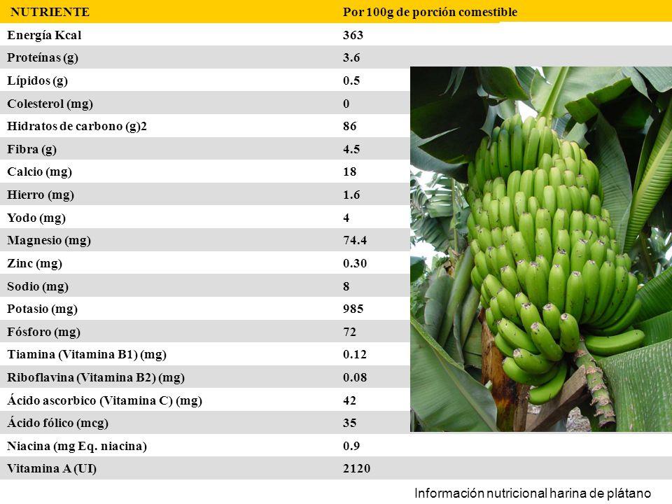 NUTRIENTE Por 100g de porción comestible. Energía Kcal. 363. Proteínas (g) 3.6. Lípidos (g) 0.5.