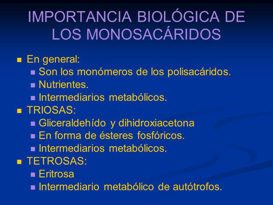 IMPORTANCIA BIOLÓGICA DE LOS MONOSACÁRIDOS