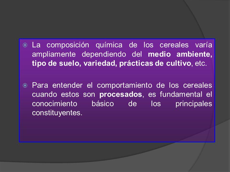 La composición química de los cereales varía ampliamente dependiendo del medio ambiente, tipo de suelo, variedad, prácticas de cultivo, etc.