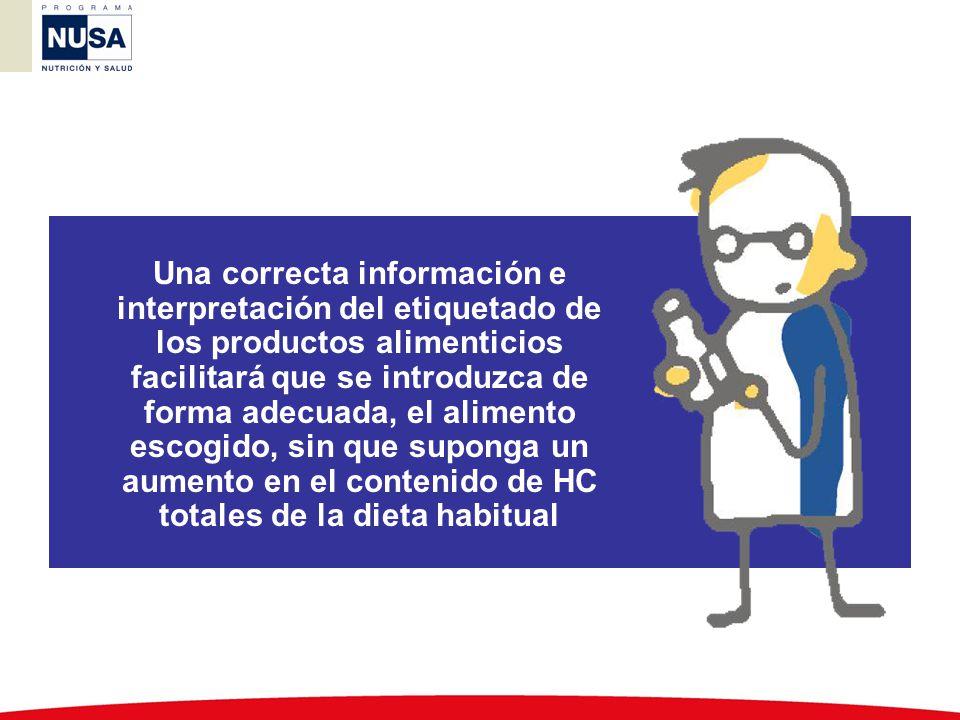 Una correcta información e interpretación del etiquetado de los productos alimenticios facilitará que se introduzca de forma adecuada, el alimento escogido, sin que suponga un aumento en el contenido de HC totales de la dieta habitual