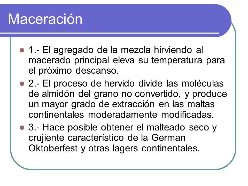 Maceración 1.- El agregado de la mezcla hirviendo al macerado principal eleva su temperatura para el próximo descanso.
