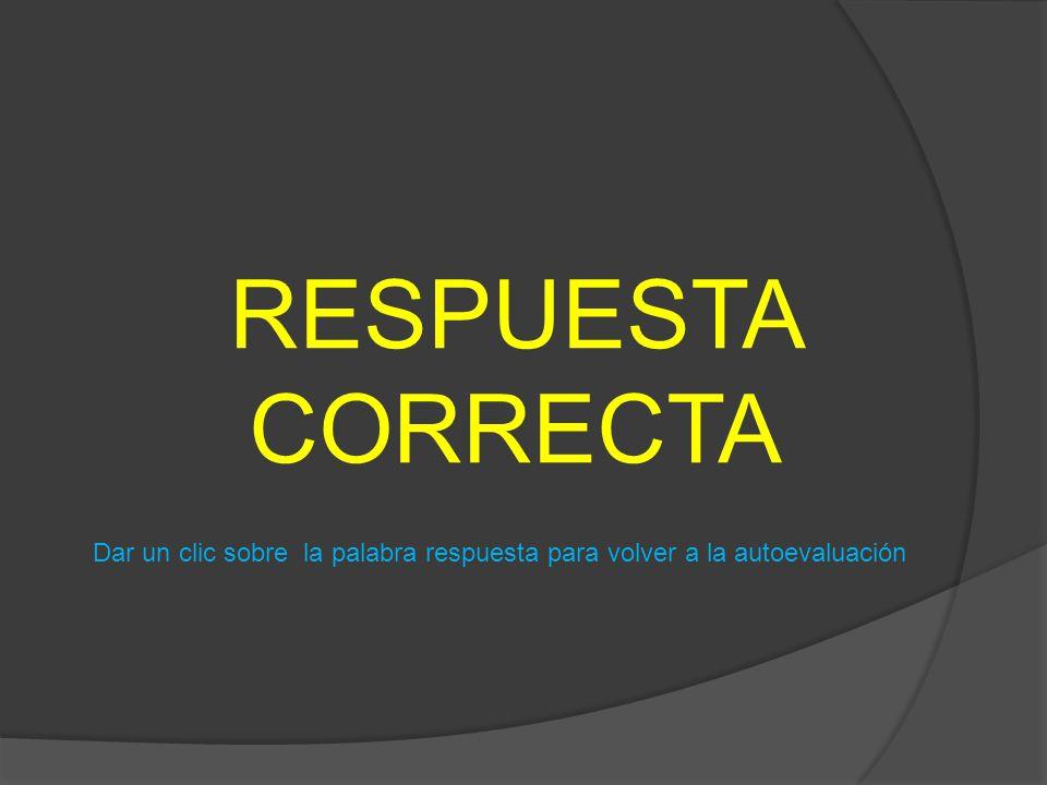 RESPUESTA CORRECTA Dar un clic sobre la palabra respuesta para volver a la autoevaluación