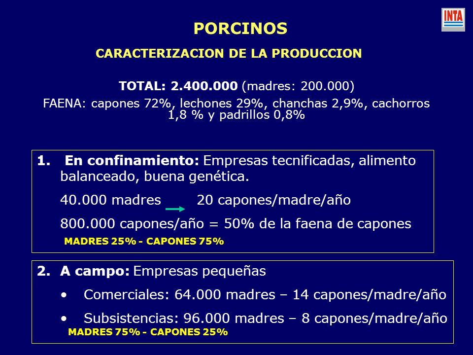 PORCINOS CARACTERIZACION DE LA PRODUCCION. TOTAL: 2.400.000 (madres: 200.000)