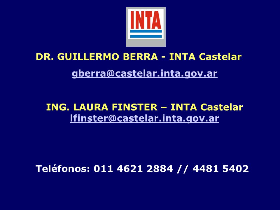 ING. LAURA FINSTER – INTA Castelar lfinster@castelar.inta.gov.ar