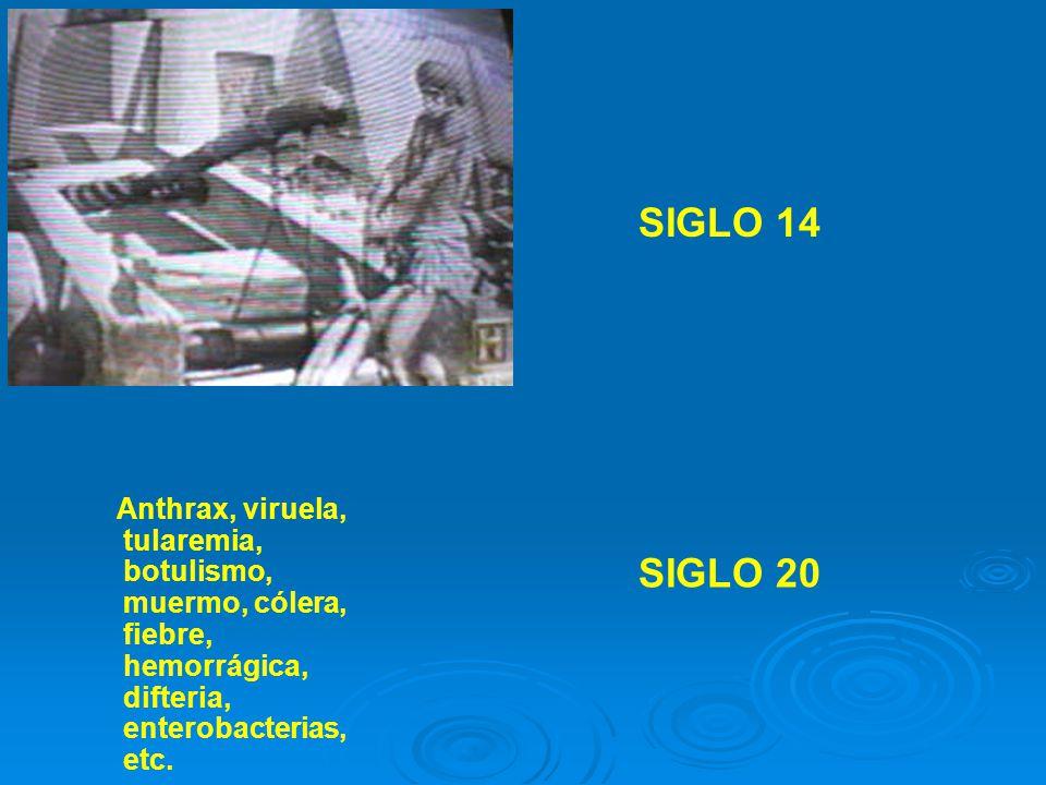 SIGLO 14 Anthrax, viruela, tularemia, botulismo, muermo, cólera, fiebre, hemorrágica, difteria, enterobacterias, etc.