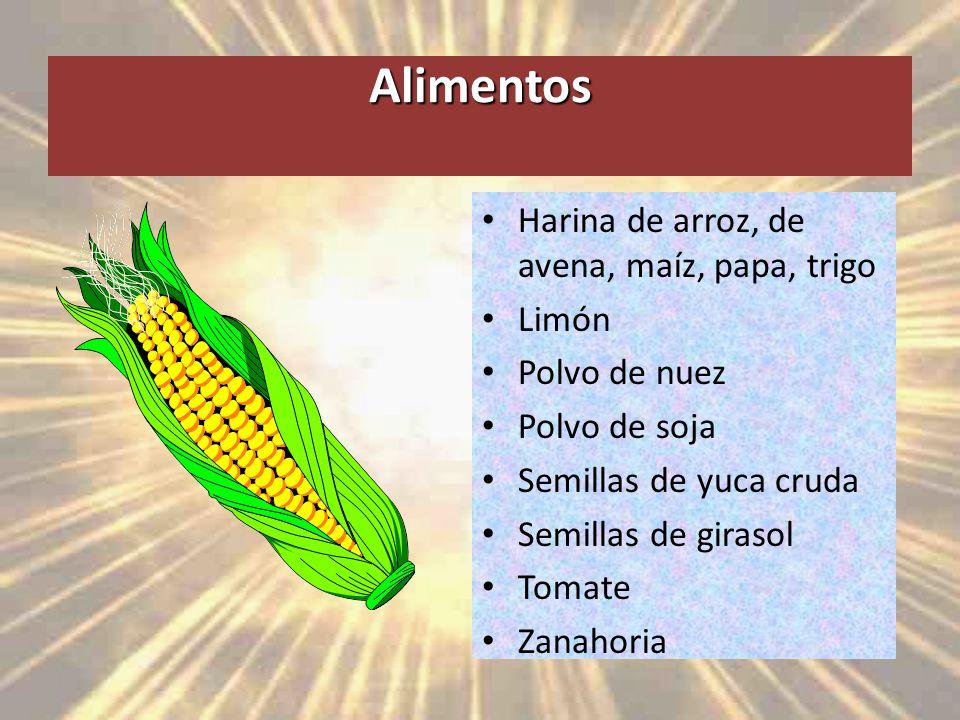 Alimentos Harina de arroz, de avena, maíz, papa, trigo Limón