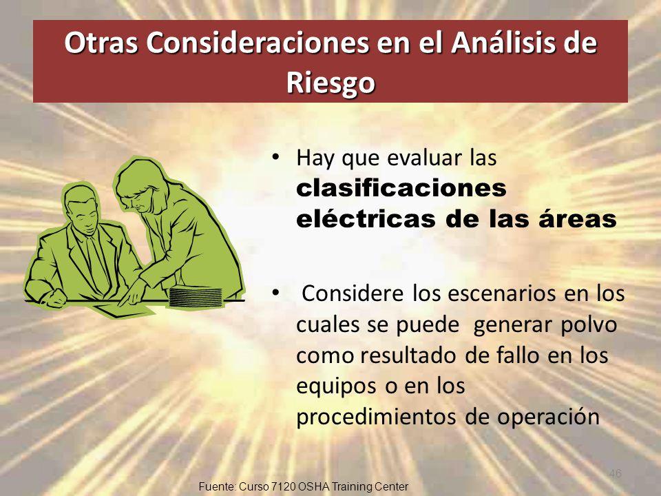 Otras Consideraciones en el Análisis de Riesgo