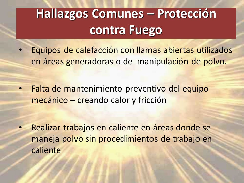 Hallazgos Comunes – Protección contra Fuego