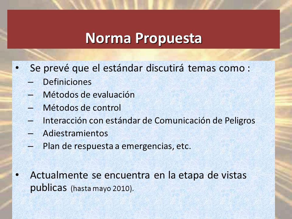 Norma Propuesta Se prevé que el estándar discutirá temas como :