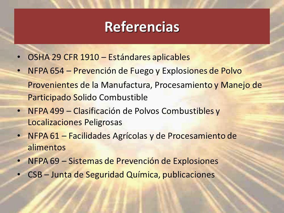 Referencias OSHA 29 CFR 1910 – Estándares aplicables