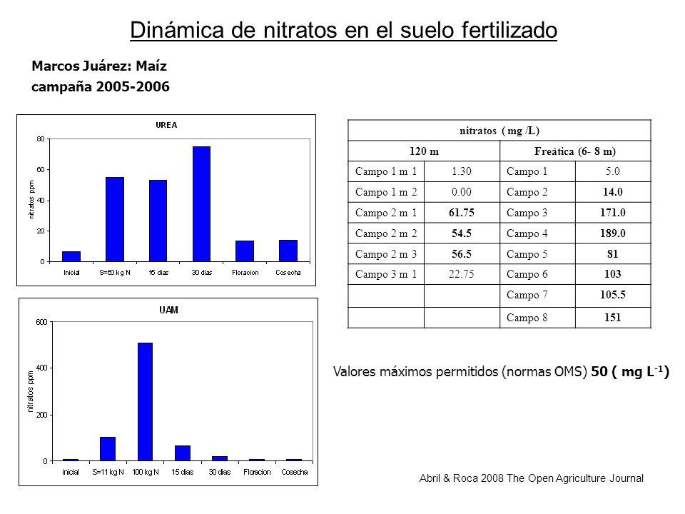 Dinámica de nitratos en el suelo fertilizado