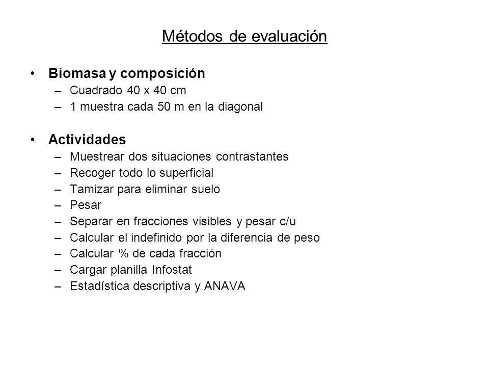 Métodos de evaluación Biomasa y composición Actividades