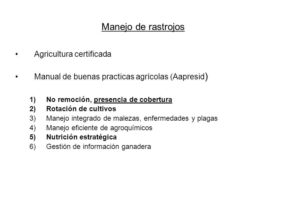 Manejo de rastrojos Agricultura certificada