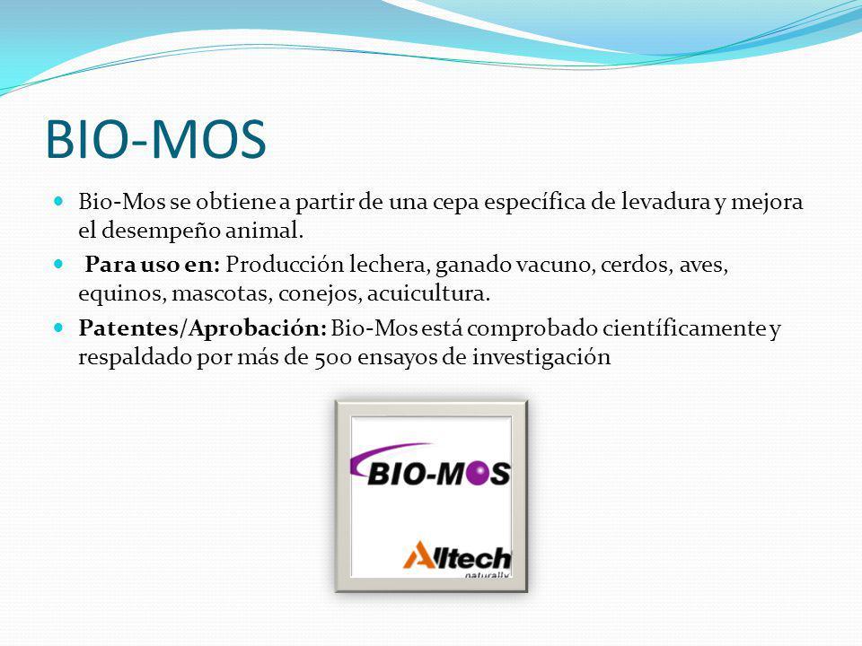 BIO-MOS Bio-Mos se obtiene a partir de una cepa específica de levadura y mejora el desempeño animal.