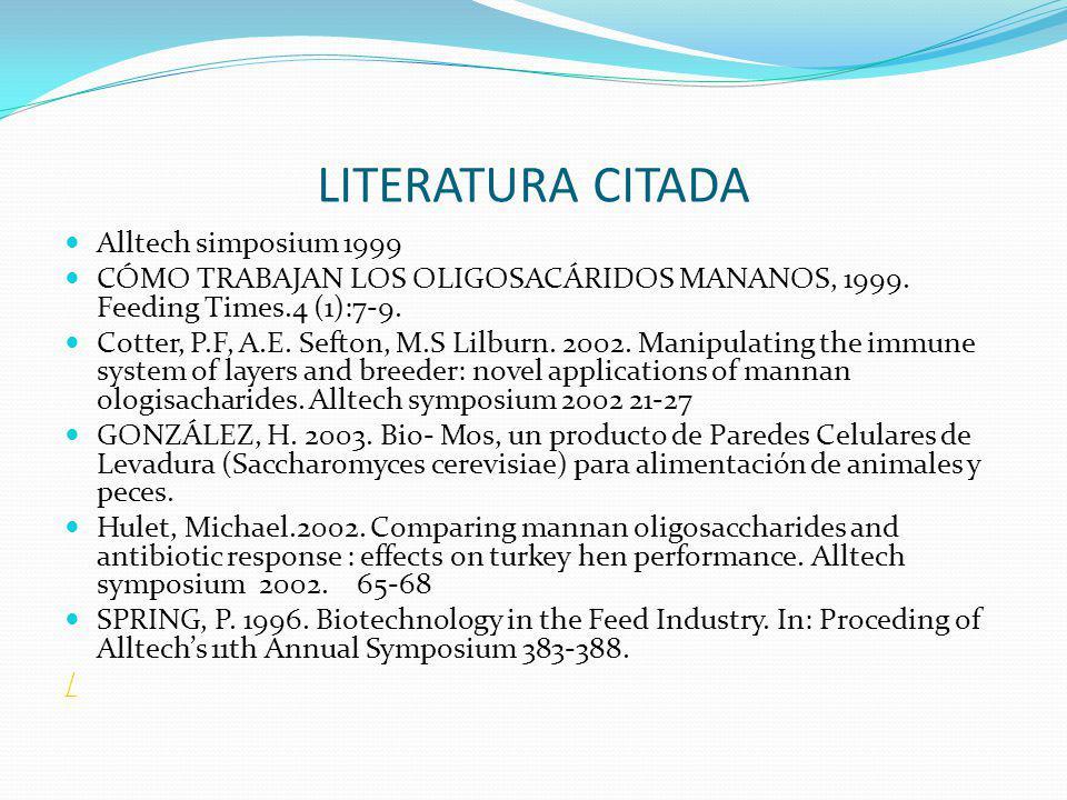 LITERATURA CITADA Alltech simposium 1999