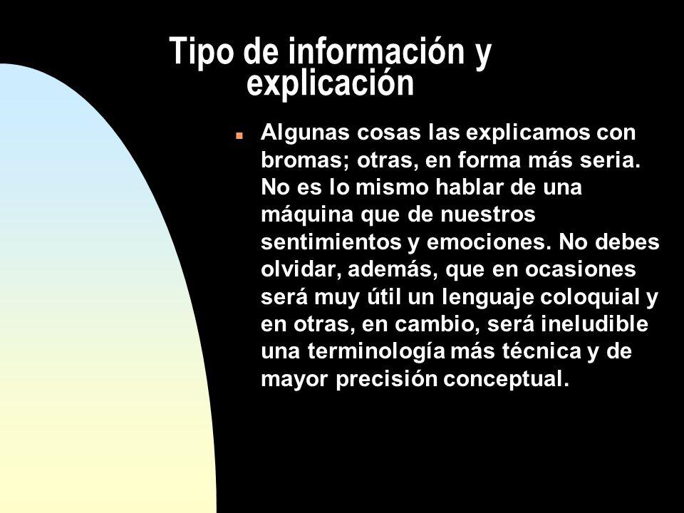 Tipo de información y explicación