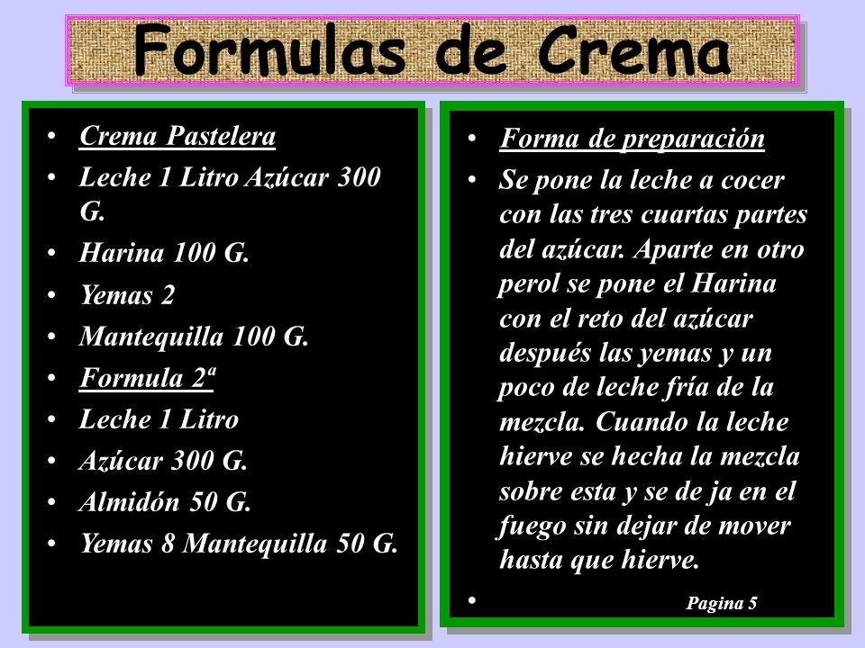 Formulas de Crema Crema Pastelera Forma de preparación