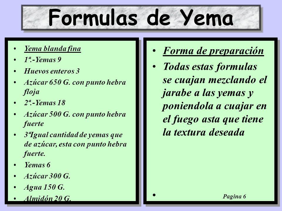 Formulas de Yema Forma de preparación