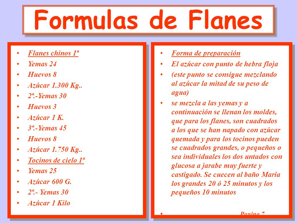 Formulas de Flanes Flanes chinos 1ª Yemas 24 Huevos 8