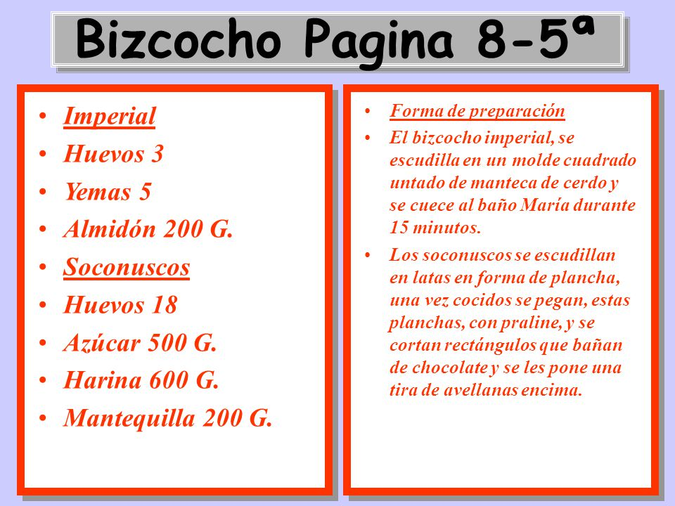 Bizcocho Pagina 8-5ª Imperial Huevos 3 Yemas 5 Almidón 200 G.