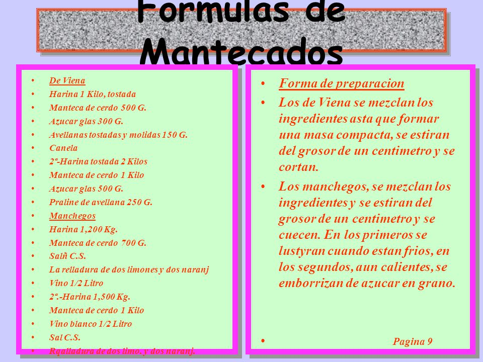 Formulas de Mantecados