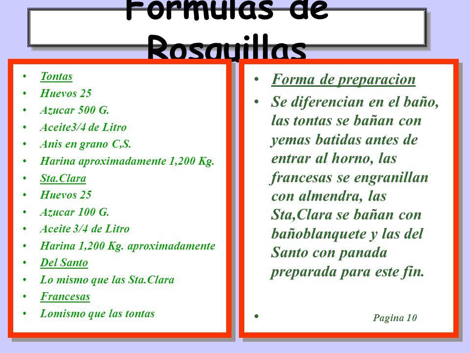 Formulas de Rosquillas