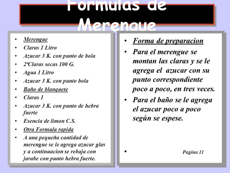 Formulas de Merengue Forma de preparacion