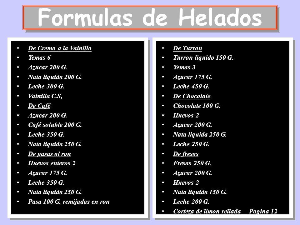 Formulas de Helados De Crema a la Vainilla Yemas 6 Azucar 200 G.