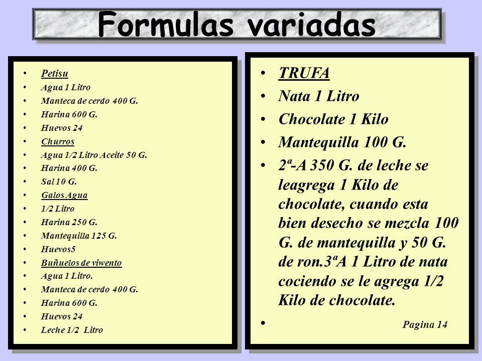Formulas variadas TRUFA Nata 1 Litro Chocolate 1 Kilo